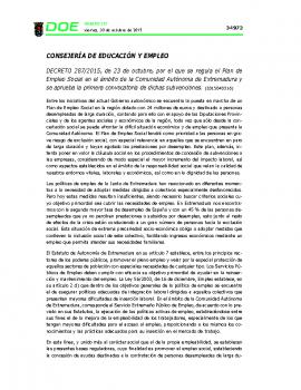 Decreto 287 2015 Plan de Empleo Social
