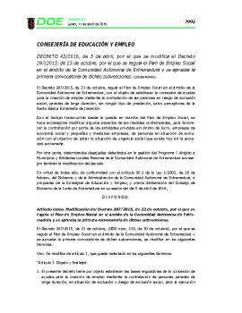 Decreto 43_2016 Modificación Plan Empleo Social